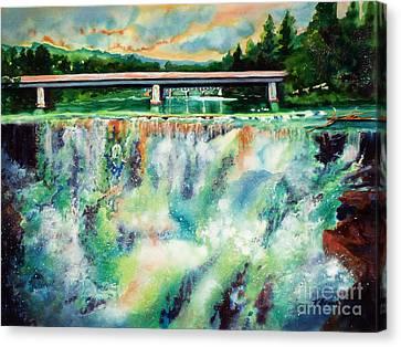 Two Bridges And A Falls 2          Canvas Print