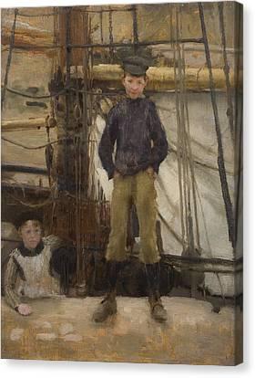 Two Children On Deck Canvas Print by Henry Scott Tuke