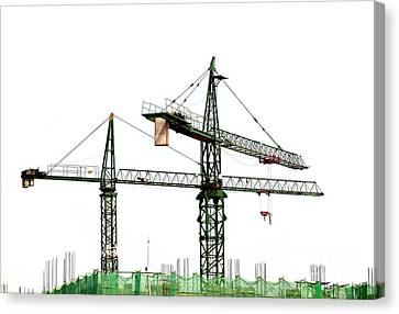 Two Cranes On A Construction Site Canvas Print