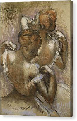 Two Dancers Adjusting Their Shoulder Straps Canvas Print by Edgar Degas