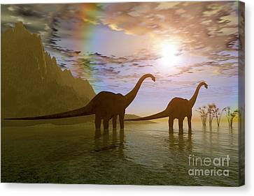Two Diplodocus Dinosaurs Wade Canvas Print by Corey Ford