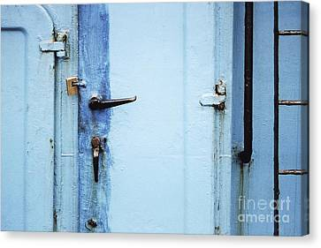 Two Handles And A Padlock Canvas Print