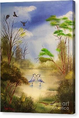 Two Herons Canvas Print by Crispin  Delgado