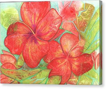 Canvas Print featuring the painting Two Hibiscus Blossoms by Carla Parris