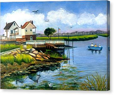 Two Houses In Broad Channel Canvas Print