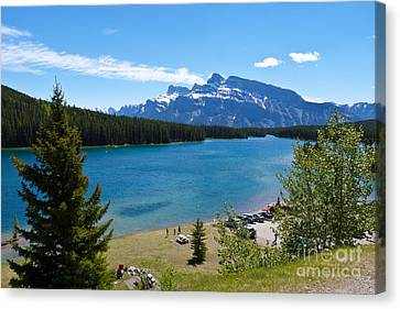 Two Jack Lake Canvas Print by Bob and Nancy Kendrick