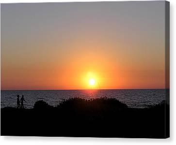 Two Lovers Sunset Beach Walk Canvas Print