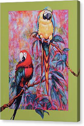 Canvas Print featuring the painting Captive Birds Of The Rain Forest by Charles Munn