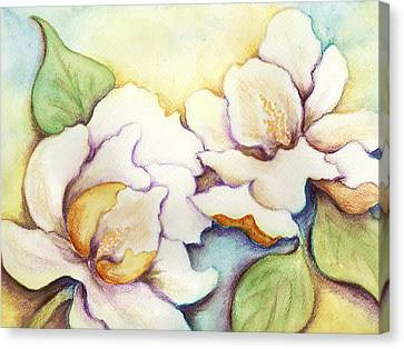 Canvas Print featuring the painting Two Magnolia Blossoms by Carla Parris