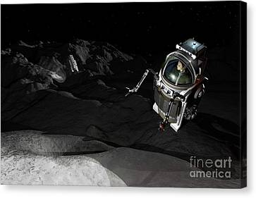 Two Manned Maneuvering Vehicles Explore Canvas Print by Walter Myers