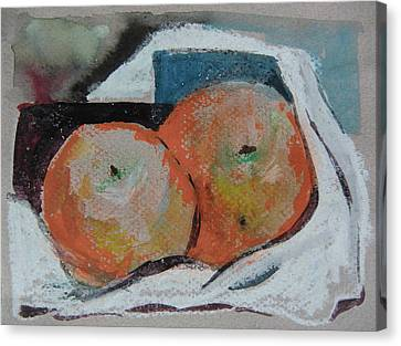 Two Oranges Canvas Print by Mindy Newman
