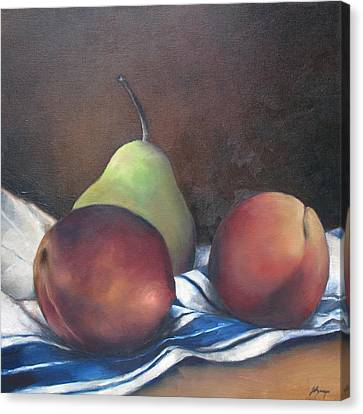 Two Peaches And A Pear Canvas Print by Julie Dalton Gourgues