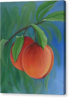Two Peaches Canvas Print by Mary Rogers