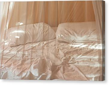 Two Pillows And Empty Bed With Netting Canvas Print by Sasha Weleber