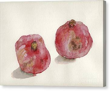 Canvas Print featuring the painting Two Pomegranates  by Annemeet Hasidi- van der Leij
