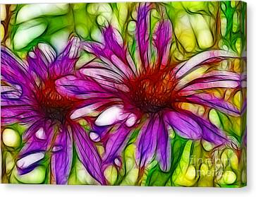 Two Purple Daisy's Fractal Canvas Print by Donna Greene