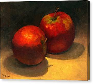 Canvas Print featuring the painting Two Red Apples by Vikki Bouffard