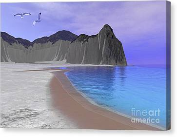 Flying Seagull Canvas Print - Two Seagulls Fly Over A Beautiful Ocean by Corey Ford
