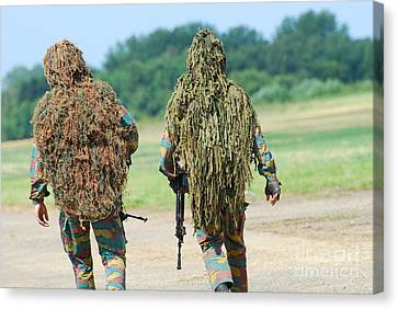 Two Snipers Of The Belgian Army Dressed Canvas Print by Luc De Jaeger