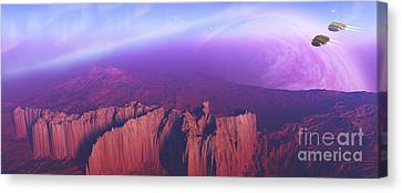 Two Spacecraft Fly Over A Mountain Canvas Print by Corey Ford