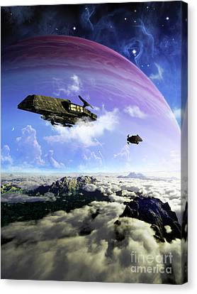 Two Spacecraft Prepare To Depart Canvas Print by Brian Christensen