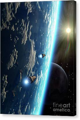 Two Survey Craft Orbit A Terrestrial Canvas Print by Brian Christensen