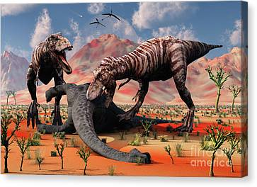 Two T. Rex Dinosaurs Feed Canvas Print by Mark Stevenson