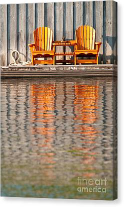 Canvas Print featuring the photograph Two Wooden Chairs by Les Palenik