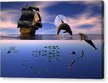 Canvas Print featuring the digital art Two Worlds by Claude McCoy