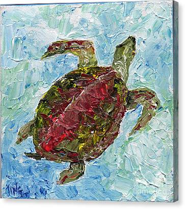 Canvas Print featuring the painting Tybee Turtle Swimming by Doris Blessington