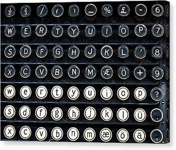 Typewriter Keyboard Canvas Print by Hakon Soreide