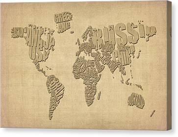 Typographic Text Map Of The World Canvas Print by Michael Tompsett