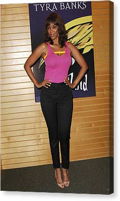 Tyra Banks At In-store Appearance Canvas Print by Everett