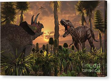 Tyrannosaurus Rex And Triceratops Meet Canvas Print by Mark Stevenson