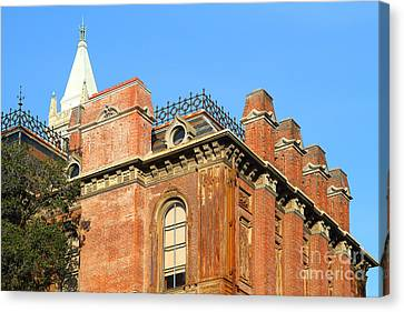 Uc Berkeley . South Hall . Oldest Building At Uc Berkeley . Built 1873 . The Campanile In The Backgr Canvas Print by Wingsdomain Art and Photography