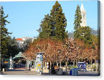 Uc Berkeley . Sproul Plaza . Sather Gate And Campanile Tower . 7d9996 Canvas Print by Wingsdomain Art and Photography