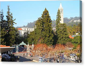 Uc Berkeley . Sproul Plaza . Sather Gate And Sather Tower Campanile . 7d10015 Canvas Print by Wingsdomain Art and Photography