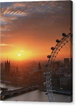 Uk, London, Millennium Wheel And Cityscape, Sunset, Elevated View Canvas Print by Travelpix Ltd