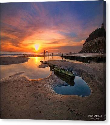 Ultra Low Tide Sunset At A North San Canvas Print by Larry Marshall