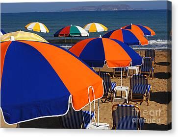 Umbrellas Of Crete Canvas Print by Bob Christopher