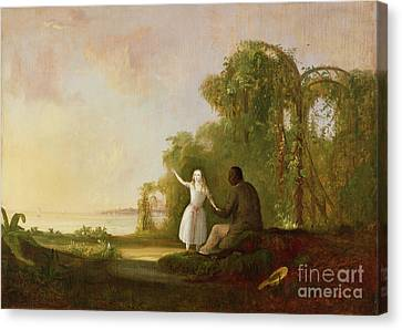 Uncle Tom And Little Eva Canvas Print by Robert Scott Duncanson