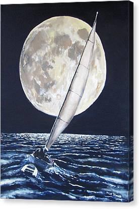 Under Full Sail..under Full Moon Canvas Print by Jack Skinner
