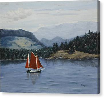 Under Sail In The San Juans Canvas Print by Alan Mager