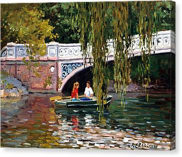 Under The Bow Bridge Central Park Canvas Print by Roelof Rossouw
