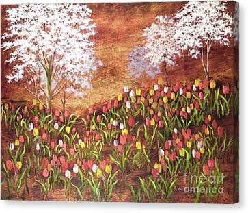 Canvas Print featuring the painting Under The Dogwoods by Vic  Mastis
