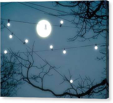 Lights Under The Moonlit Sky Canvas Print