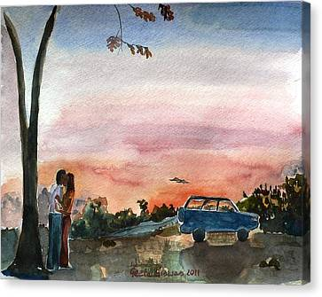 Canvas Print featuring the painting Under The Setting Sun by Geeta Biswas