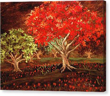 Canvas Print featuring the painting Under The Trees by Vic  Mastis