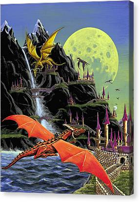 Canvas Print featuring the painting Under The Yellow Moon by Kurt Jacobson