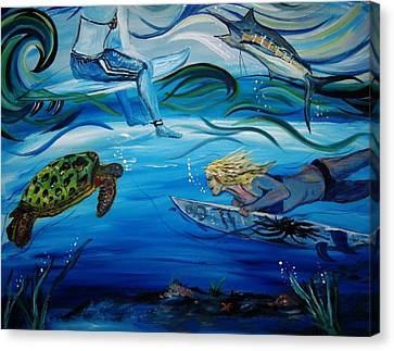 Underwater Surfers Canvas Print by Amanda Dinan
